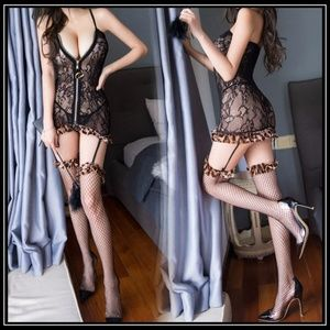 ❤️NEW Sexy Leopard Lingerie & Stockings Set #L050